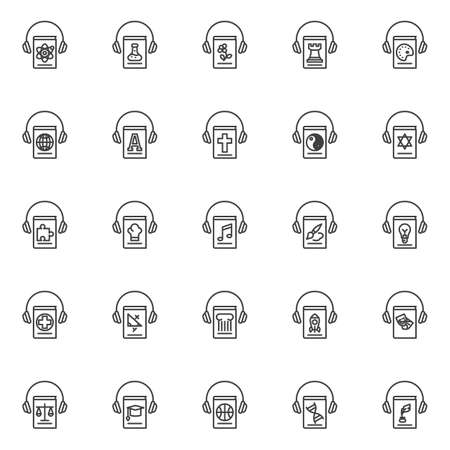 Ebook library line icons set. linear style symbols collection, outline signs pack. Education audiobook vector graphics. Set includes icons as e-learning, online book listening, chemistry science, math Vector Illustratie
