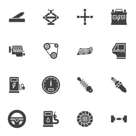 Car repair vector icons set, modern solid symbol collection, filled style pictogram pack. Signs, logo illustration. Set includes icons as headlights, speedometer, spark plug, steering wheel, battery