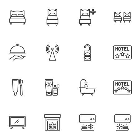 Hotel service line icons set, outline vector symbol collection, linear style pictogram pack. Signs, logo illustration. Set includes icons as twin bed, single room, restaurant food, wifi, bathroom Illusztráció