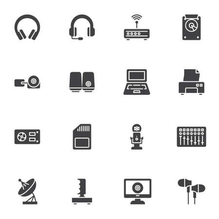 Electronic gadget vector icons set, modern solid symbol collection, filled style pictogram pack. Signs logo illustration. Set includes icons as gaming headset, laptop computer, wifi router, microphone Logo