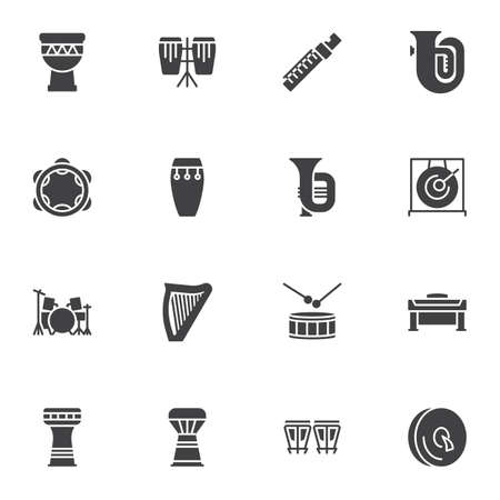 Musical instruments vector icons set, modern solid symbol collection, filled style pictogram pack. Signs, logo illustration. Set includes icons as piano, djembe drum, harp, percussion tambourine