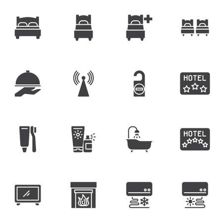 Hotel service vector icons set, modern solid symbol collection, filled style pictogram pack. Signs, logo illustration. Set includes icons as twin bed, single room, restaurant food, wifi, bathroom