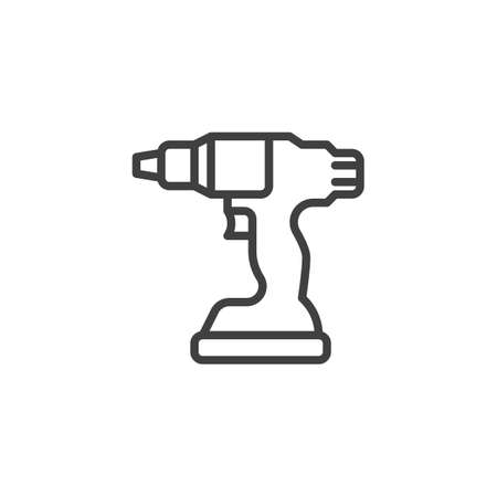 Electric screwdriver line icon. linear style sign for mobile concept and web design. Battery screwdriver drill outline vector icon. Symbol Иллюстрация