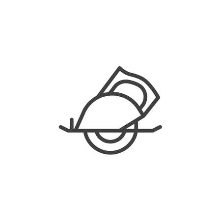 Circular saw line icon. linear style sign for mobile concept and web design. Handle electric saw outline vector icon. Symbol,   illustration. Vector graphics Иллюстрация