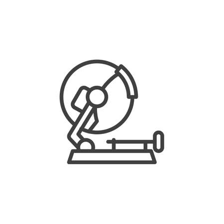 Stationary circular saw line icon. linear style sign for mobile concept and web design. Mitre saw outline vector icon. Symbol,   illustration. Vector graphics
