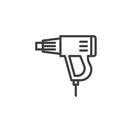 Heat gun line icon. linear style sign for mobile concept and web design. Hot air gun outline vector icon. Symbol,   illustration. Vector graphics Иллюстрация