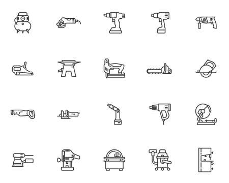 Power tool line icons set. linear style symbols collection, outline signs pack. Electric tool vector graphics. Set includes icons as drill press, screwdriver, woodworking sander, carpentry saw machine