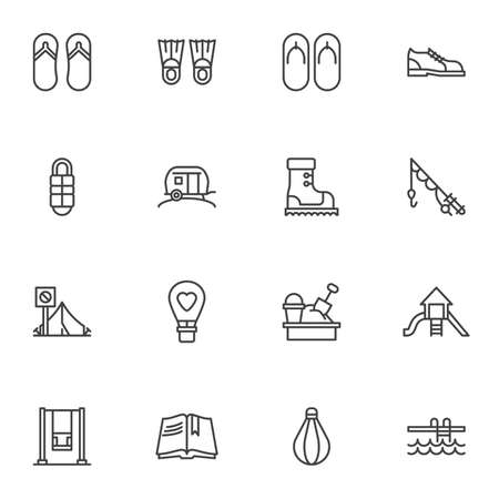Recreation line icons set, outline vector symbol collection, linear style pictogram pack. Signs, logo illustration. Set includes icons as swimming flippers, summer sandal, hiking boot, camping tent Logo