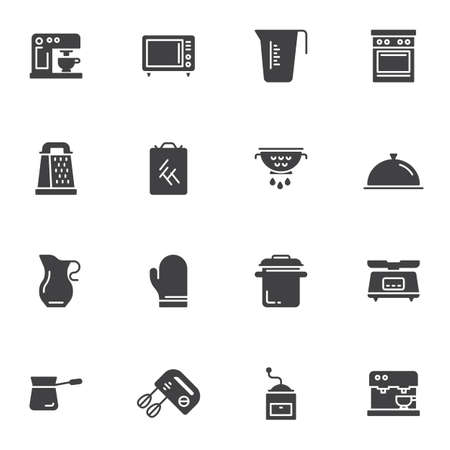 Kitchenware vector icons set, kitchen utensils modern solid symbol collection, filled style pictogram pack. Signs, logo illustration. Set includes icons as coffee machine, microwave oven, gas stove