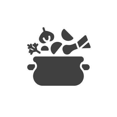 Soup pot, saucepan vector icon. filled flat sign for mobile concept and web design. Soup cooking pan glyph icon. Symbol, logo illustration. Vector graphics