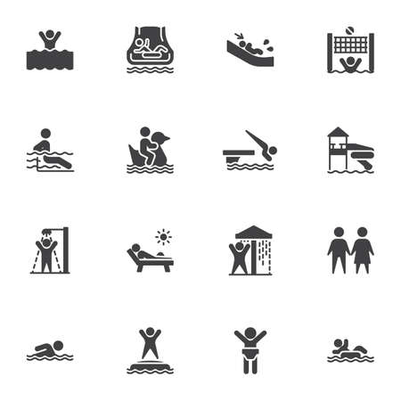 Water park vector icons set, aqua park modern solid symbol collection, filled style pictogram pack. Signs, illustration. Set includes icons as swimming pool, shower, water slide attraction Vetores