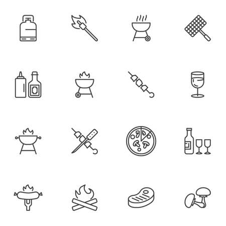 Barbeque food line icons set, outline vector symbol collection, linear style pictogram pack. Signs,   illustration. Set includes icons as bbq steak, chicken leg, hamburger, french fries, mustard Иллюстрация