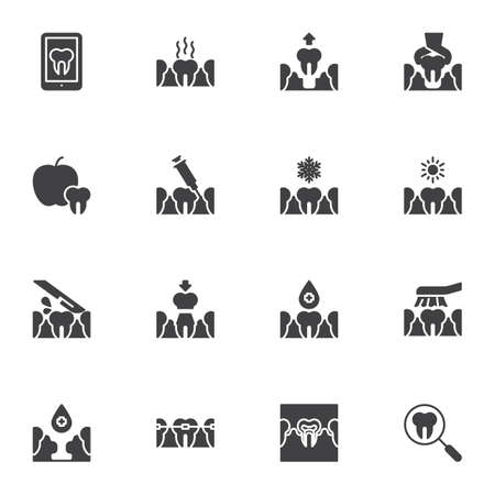 Orthodontics, dentistry vector icons set, modern solid symbol collection, filled style pictogram pack. Signs, illustration. Set includes icons as dental care, tooth extraction, treatment, braces