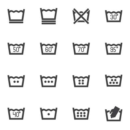 Laundry service vector icons set, washing machine instruction modern solid symbol collection, filled style pictogram pack. Signs,   illustration. Set includes icons as water temperature, hand wash Stock Illustratie