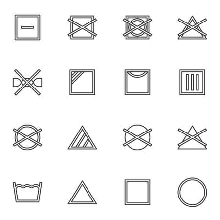 Laundry instruction line icons set, outline vector symbol collection, linear style pictogram pack. Signs,   illustration. Set includes icons as washing machine, drip dry, bleach and solvent Stock fotó - 155368092