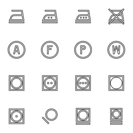 Laundry instruction line icons set, outline vector symbol collection, linear style pictogram pack. Signs,   illustration. Set includes icons as washing machine, ironing, dry wash, auto mode Stock fotó - 155368119