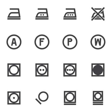 Laundry instruction vector icons set, modern solid symbol collection, filled style pictogram pack. Signs,   illustration. Set includes icons as washing machine, ironing, dry wash, auto mode Stock fotó - 155368129