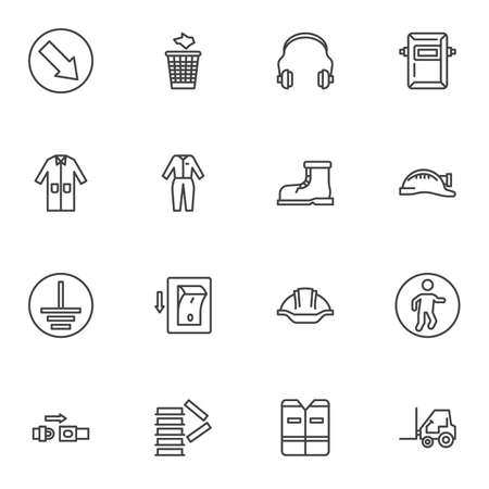 Safety mandatory signs line icons set, outline vector symbol collection, linear style pictogram pack. Signs,   illustration. Set includes icons as safety vest, welding mask, protective clothing Stock fotó - 155368155