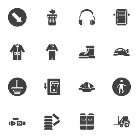 Safety mandatory signs vector icons set, modern solid symbol collection, filled style pictogram pack. Signs,   illustration. Set includes icons as safety vest, welding mask, protective clothing Stock fotó - 155368162