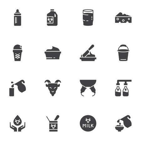 Dairy product vector icons set, modern solid symbol collection, filled style pictogram pack. Signs, illustration. Set includes icons as milk bottle, cheese, yoghurt, butter, cream, ice cream
