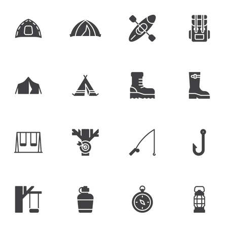 Hiking vector icons set, modern solid symbol collection, filled style pictogram pack. Signs,   illustration. Set includes icons as outdoor vacation, camping tent, backpack, compass, fishing rod Illusztráció