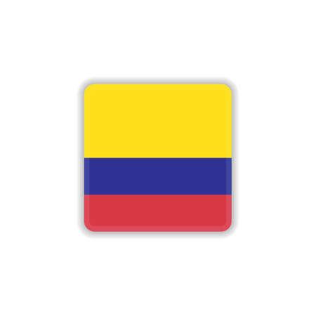 Columbia national flag flat icon, vector sign, Flag of Columbia colorful pictogram isolated on white. Symbol, logo illustration. Flat style design