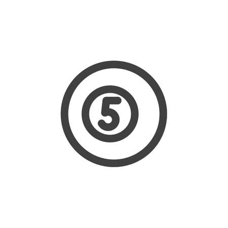 Billiard ball line icon. linear style sign for mobile concept and web design. Number five pool ball outline vector icon. Symbol, logo illustration. Vector graphics 向量圖像