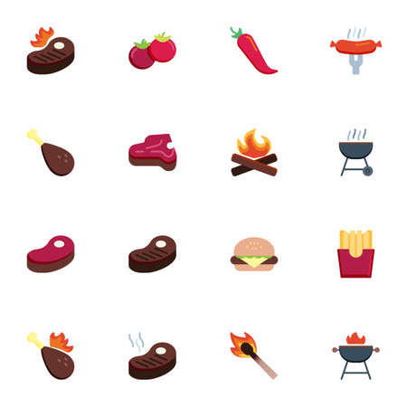 Barbeque food collection, BBQ flat icons set, Colorful symbols pack contains - beefsteak, roasted meat steak, hot dog sausage, bbq grill, vegetables, burger. Vector illustration. Flat style design Иллюстрация