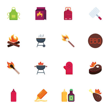 BBQ tool collection, barbeque related flat icons set, Colorful symbols pack contains - apron, charcoal pack, bbq grill, beefsteak, chicken fry, firewood, sauce. Vector illustration. Flat style design