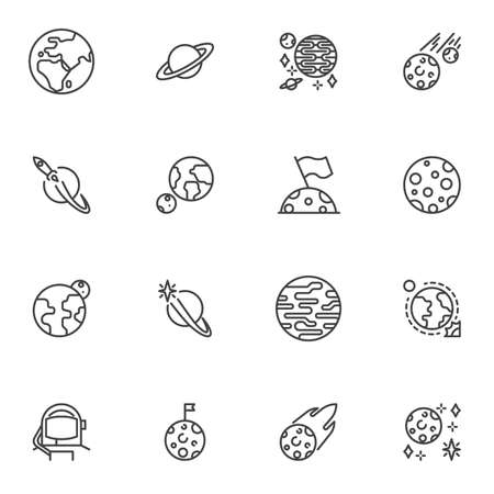Space planets line icons set, outline vector symbol collection, linear style pictogram pack. Signs,   illustration. Set includes icons as earth planet, saturn, spaceship, moon with flag, jupiter Illusztráció