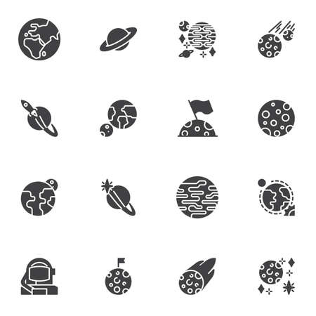 Space planets vector icons set, modern solid symbol collection, filled style pictogram pack. Signs,   illustration. Set includes icons as earth planet, saturn, spaceship, moon with flag, jupiter
