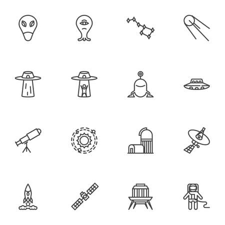 Space, universe line icons set, outline vector symbol collection, linear style pictogram pack. Signs,   illustration. Set includes icons as ufo alien, ursa major, astronomy telescope, spaceman