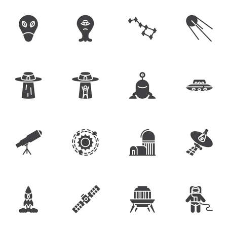 Space, universe vector icons set, modern solid symbol collection, filled style pictogram pack. Signs,   illustration. Set includes icons as ufo alien, ursa major, astronomy telescope, spaceman