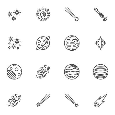 Cosmos, space line icons set, outline vector symbol collection, linear style pictogram pack. Signs,   illustration. Set includes icons as planet orbit, universe stars, meteor comet, spaceship