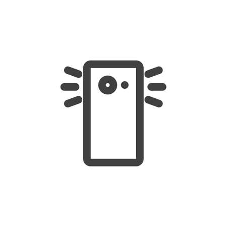 Smartphone camera flash line icon. linear style sign for mobile concept and web design. Phone flash outline vector icon. Symbol,   illustration. Vector graphics