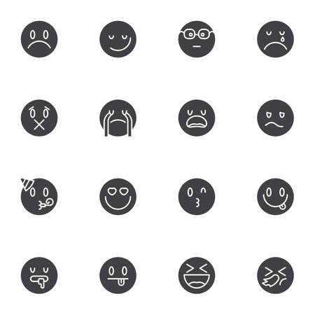 Circle emoji vector icons set, emoticon smiley modern solid symbol collection, filled style pictogram pack. Signs, logo illustration. Set includes icons as loudly crying face, happy smiling, heart eye