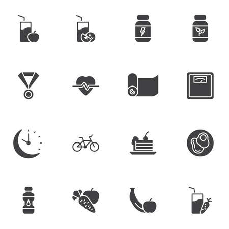Sport nutrition vector icons set, modern solid symbol collection, filled style pictogram pack. Signs, logo illustration. Set includes icons as healthy food, fruit juice glass, yoga matt, vegetable Illustration