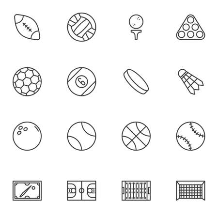 Sport ball line icons set, outline vector symbol collection, linear style pictogram pack. Signs, logo illustration. Set includes icons as american football, volleyball, soccer, basketball, baseball