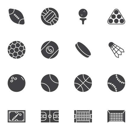 Sport ball vector icons set, modern solid symbol collection, filled style pictogram pack. Signs, logo illustration. Set includes icons as american football, volleyball, soccer, basketball, baseball Vettoriali