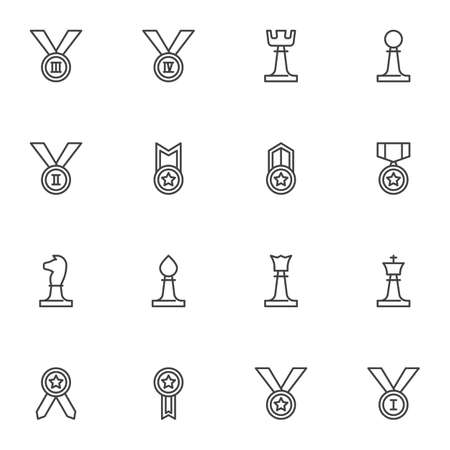 Sport award line icons set, outline vector symbol collection, linear style pictogram pack. Signs, logo illustration. Set includes icons as champions medal, reward prize, chess piece