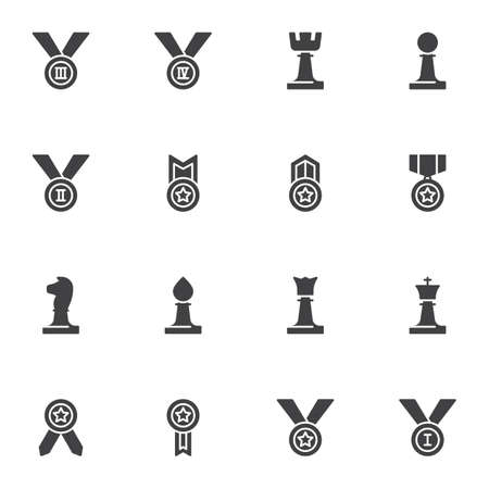 Sport award vector icons set, modern solid symbol collection, filled style pictogram pack. Signs, logo illustration. Set includes icons as champions medal, reward prize, chess piece