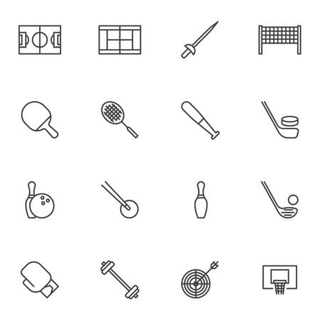Sports equipment line icons set, outline vector symbol collection, linear style pictogram pack. Signs, logo illustration. Set includes icons as tennis racquet, baseball bat, hockey stick, boxing glove