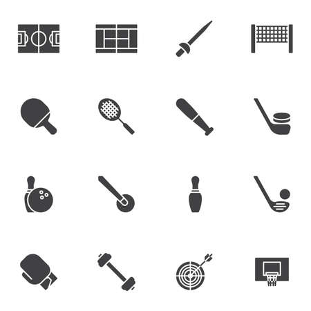 Sports equipment vector icons set, modern solid symbol collection, filled style pictogram pack. Signs, logo illustration. Set includes icons as tennis racquet, baseball bat, hockey stick, boxing glove