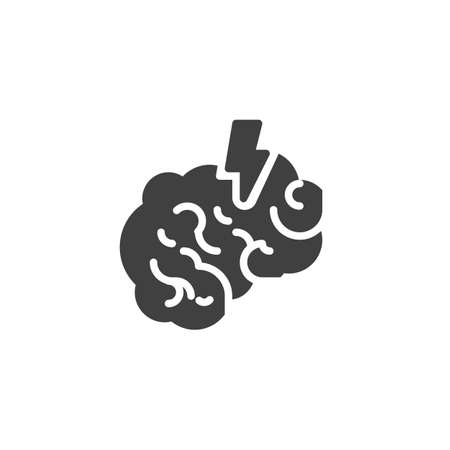 Brain, stroke vector icon. filled flat sign for mobile concept and web design. Human brain pain glyph icon. Cerebrovascular disease symbol, logo illustration. Vector graphics