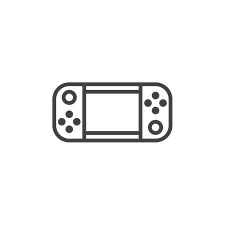 Handheld game console line icon. linear style sign for mobile concept and web design. Gamepad outline vector icon. Symbol, logo illustration. Vector graphics 矢量图像