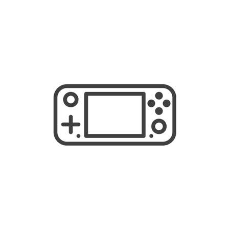 Gamepad console line icon. linear style sign for mobile concept and web design. Handheld gamepad outline vector icon. Symbol, logo illustration. Vector graphics 矢量图像