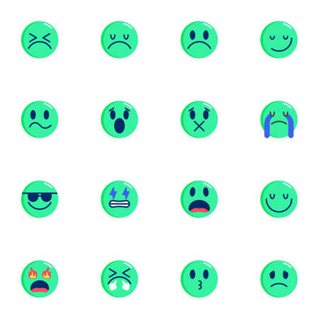 Emoji smiley collection, Emoticons flat icons set, Colorful symbols pack contains - smiling face, crying, confused, kissing, sad, tired, shocked. Vector illustration. Flat style design