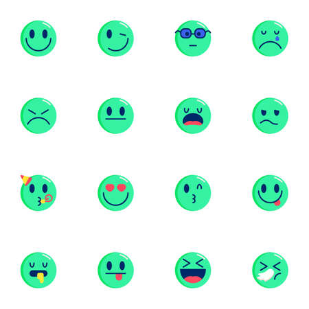 Chat emoticons collection, Emoji smiley flat icons set, Colorful symbols pack contains - winking eye, party, stuck out tongue, sleeping, sick, nerd face. Vector illustration. Flat style design 向量圖像