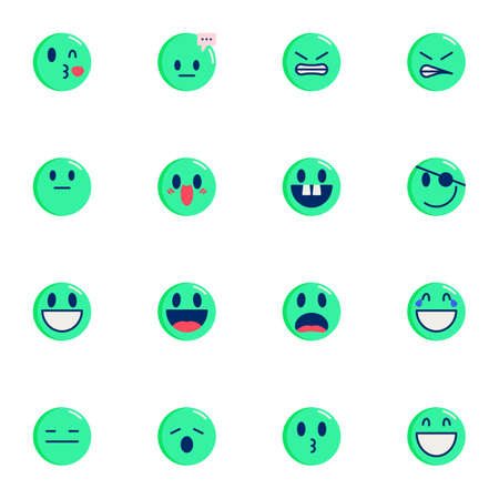 Chat Emoji collection, round emoticons flat icons set, Colorful symbols pack contains - pirate face, laughing smiley, tired. Vector illustration. Flat style design