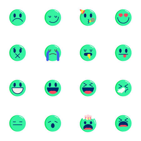 Round emoticons elements collection, Chat Emoji flat icons set, Colorful symbols pack contains - happy smiley, screaming face, smiling, crying, laughing, heart. Vector illustration. Flat style design